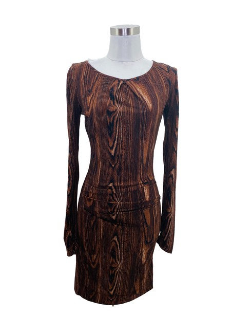Item - Brown XS N580 Bcbg Max Azria Designer 2 Black Tree Branch Short Formal Dress Size 0 (XS)