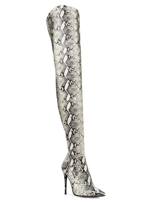 Item - Black and White Dominique Thigh High Stiletto Snakeskin Boots/Booties Size US 8 Regular (M, B)
