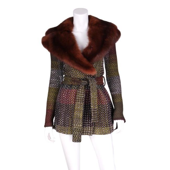 Item - Multicolor Wool Tweed Woven Belted with Fox Collar Coat Size 8 (M)