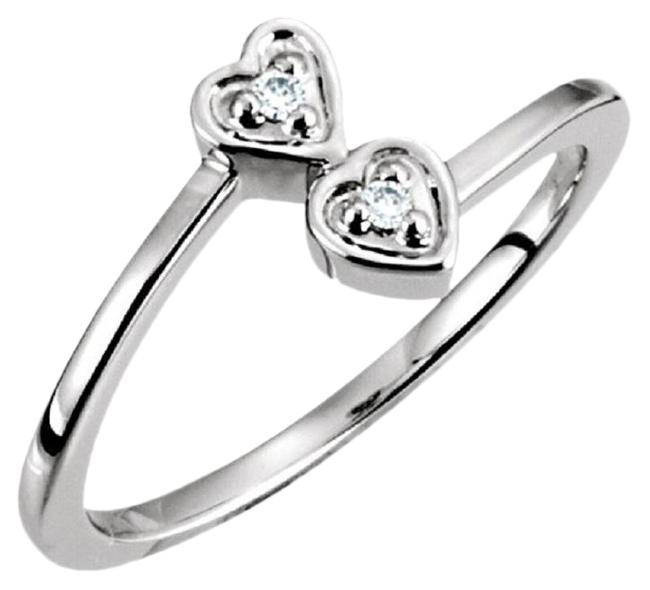 Item - Double Heart Bypass In 14k White Ring