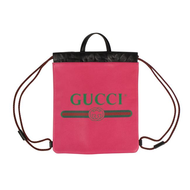 Item - Drawstring Logo Print Pink Leather Backpack