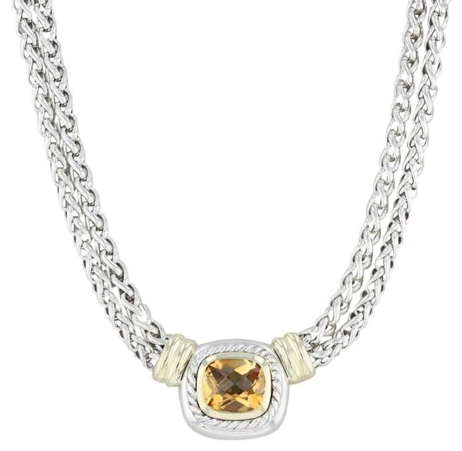 """Item - Silver and Yellow Gold Orange Citrine Wheat Chain 16"""" Necklace"""