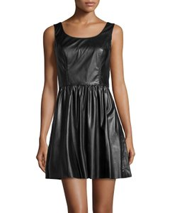 Vakko short dress Black Pleated Vegan Leather Fit And Flare A-line Sleeveless on Tradesy
