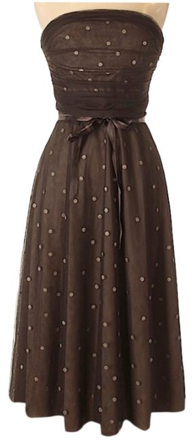 Item - Brown Strapless Chiffon Mid-length Cocktail Dress Size 8 (M)