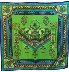 Versace Green, Royal, Turquoise Multi Printed Asian Temple Silk Scarf