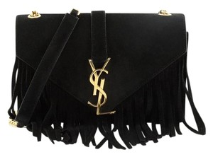 Saint Laurent Fringe Suede Satchel in Black
