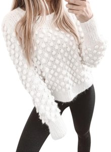 Eleven Six Soft Comfortable White Solid Trendy Sweater