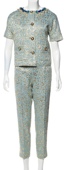 Item - Turquoise and Gold Brocade Pant Suit Size 4 (S)