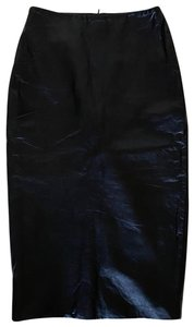 VEDA Midi Pencil Leather Skirt black