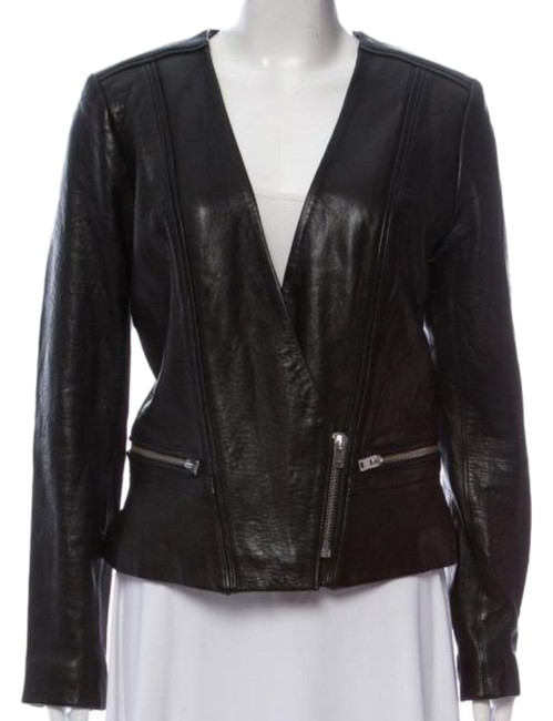 Item - Black Imaei Lamb Moto Zipper Jacket Size 6 (S)