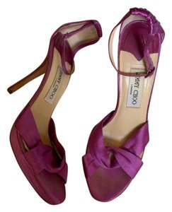 Jimmy Choo Satin Sandals Peep Toe Purple Pumps