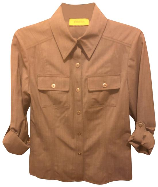 Item - Brown Stretch Long Sleeve Blouse - Button-down Top Size 2 (XS)