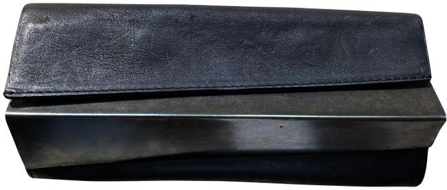 Item - Triangle Metal Panel Black Distressed Leather Clutch