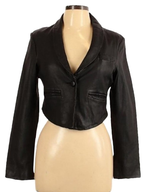 Item - Black Lamb Cropped Moto Blazer Jacket Size 12 (L)