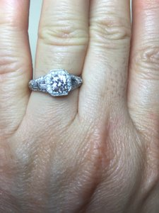 14 Kt White Gold Diamond Engagement Ring Setting Sz 7
