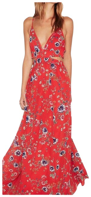 Item - Red Maxi Cutouts Long Formal Dress Size 4 (S)