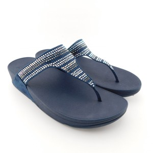 FitFlop Toe Post Strobe Luxe Lulu Chacha Comfy Navy Blue Sandals