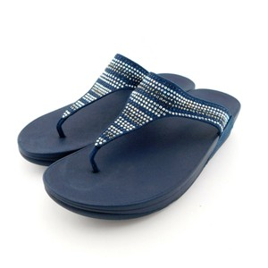 FitFlop Strobe Luxe Midnight Toe Post Lulu Chacha Navy Blue Sandals