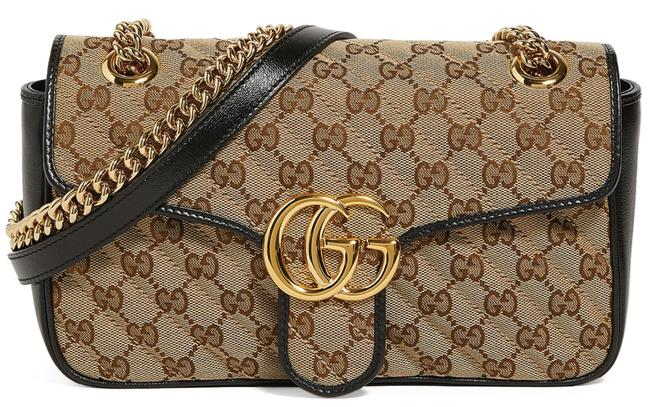 Gucci GG Shoulder Chain Crossbody Marmont Small Tote Brown Beige Black Canvas Messenger Bag Gucci GG Shoulder Chain Crossbody Marmont Small Tote Brown Beige Black Canvas Messenger Bag Image 1