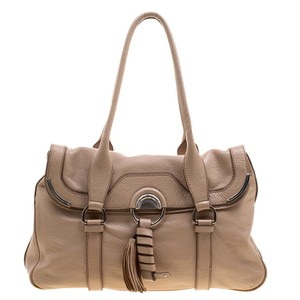 Céline Leather Satchel in Beige