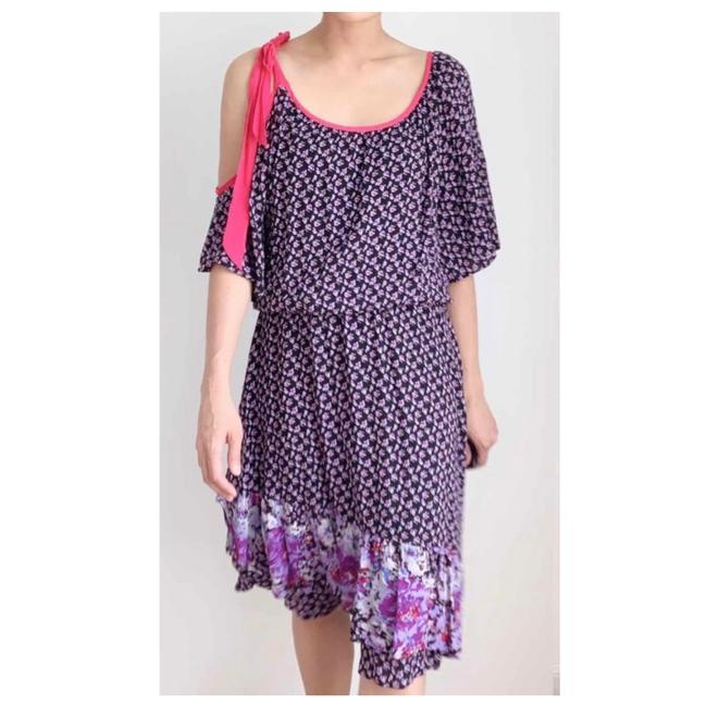 Item - Floral Tie Sleeve Boho Mid-length Short Casual Dress Size 6 (S)