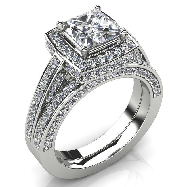 Item - White 3.95 Ct Princess Halo and Band Engagement Ring