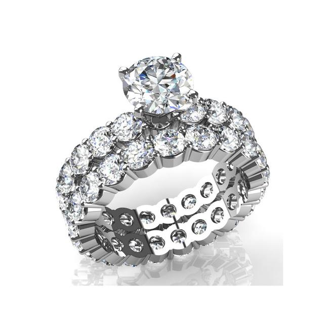Item - White 4.75 Ct Round Accented Solitaire Matching Engagement Ring