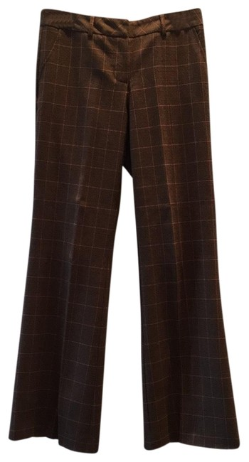 Item - Golden Brown with Pink Plaid Pattern Wool Pants Size 4 (S, 27)