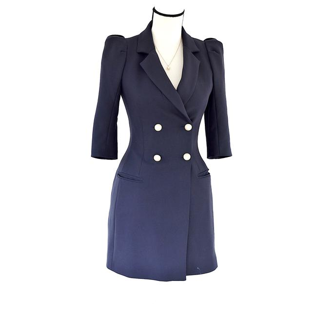 Item - Blue Double Breasted Short Sleeve Puffed Sleeve S Blazer Size 4 (S)