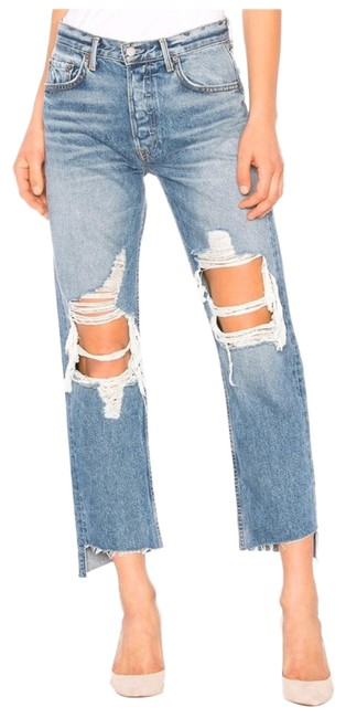 Item - Blue Distressed Helena Relaxed Ripped High Waisted Straight Leg Jeans Size 12 (L, 32, 33)