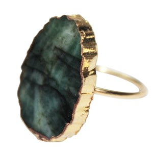 Daisy Del Sol Natural Emerald Stone Vermeil 925 Sterling Silver Statement Ring