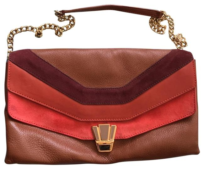 Item - Brown and Red and Orange Leather Cross Body Bag
