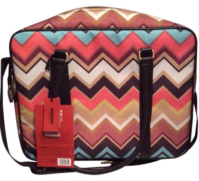 Item - Tote-limited Multi Colored Zig Zag Cotton-water & Stain Resistant Weekend/Travel Bag