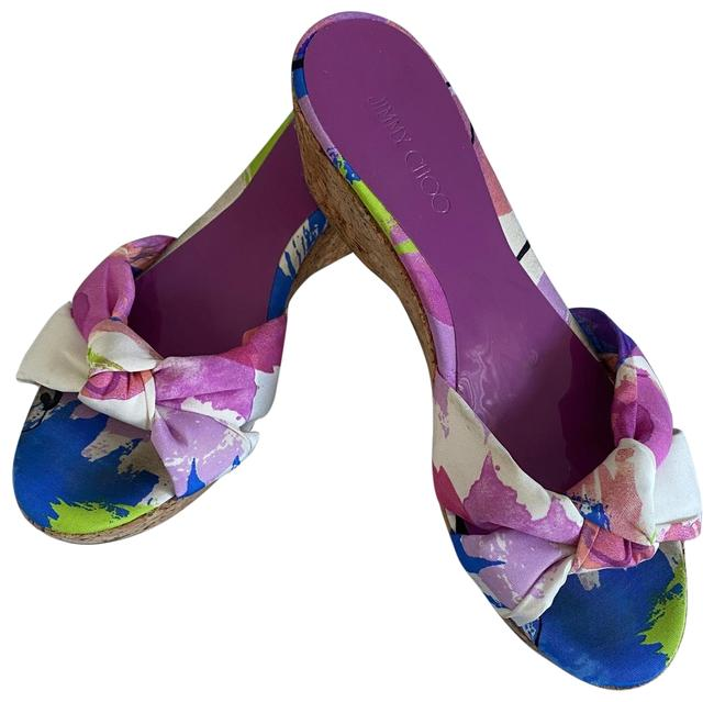 Item - Magenta / Fuchsia / Multicolor Floral Cork Wedge/Slide Wedges Size US 7.5 Narrow (Aa, N)