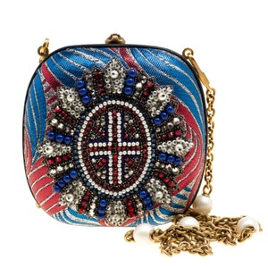 Gucci Metallic Pearl Embellished Multicolor Clutch