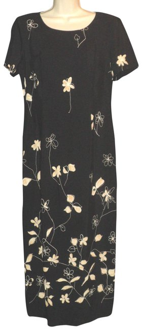 Item - Black with Tan Floral Short Sleeves Long Cocktail Dress Size 6 (S)