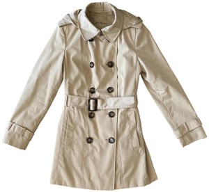 Calvin Klein Water Resistant Double Breasted Removable Hood Removable Lining Trench Coat