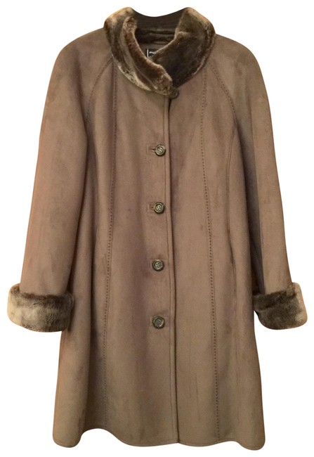 Item - Taupe Faux Suede/Fur Coat Size 10 (M)