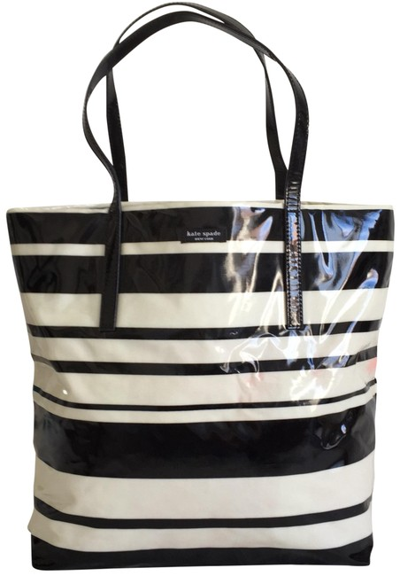 Item - Daycation Shopper Stripe Black White Coated Canvas Tote