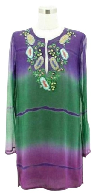 Item - Green Purple Ombre N1223 Designer Us Tunic Beaded Short Casual Dress Size 8 (M)