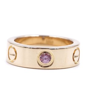 Cartier RARE 18K LOVE Pink Sapphire 1P 5.5mm wide ring Size 47 4.5