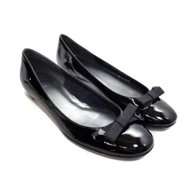 Item - Black Patent Leather Ballet with Ribbon Bow Flats Size US 6.5 Regular (M, B)