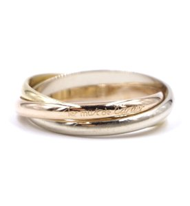 Cartier 18K Trinity white gold yellow rose pink gold ring size 49 5
