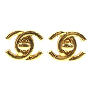 Chanel Ultra Rare CC turnlock gold hardware clip on clip-on earrings
