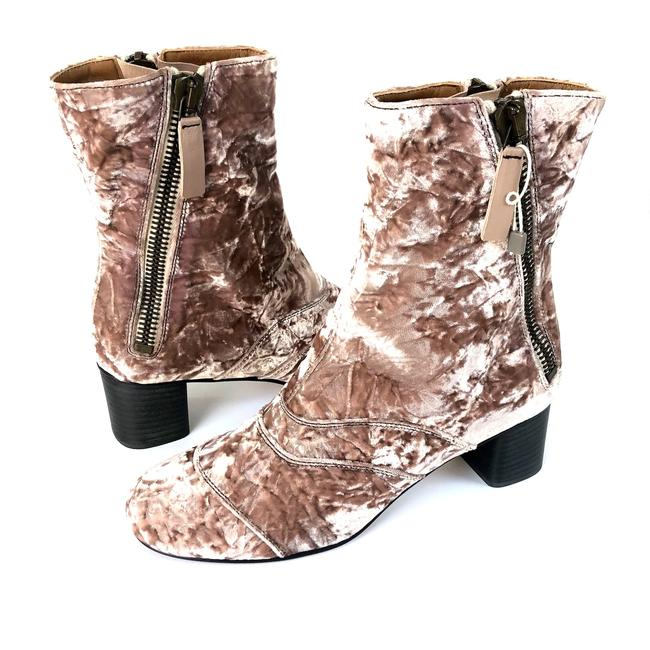 Item - Tan Rose Lexie Crushed Velvet Angle Zip Mid Calf Boots/Booties Size EU 38.5 (Approx. US 8.5) Wide (C, D)