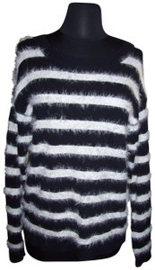 Sweater Project Cotton Blend Textured Stripes Crew Long Sleeve Sweater