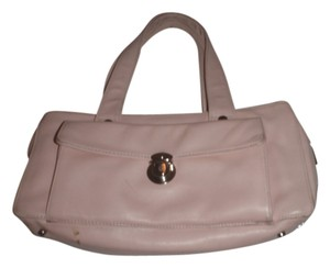 Perlina Leather Handbag Small Clutches Satchel in light pink