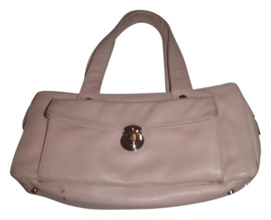 Perlina Leather Handbag Purse Small Clutches Satchel In Light Pink