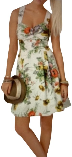 Item - White Green Pink Floral Short Casual Dress Size 8 (M)