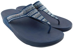 FitFlop Toe Post Midnight Strobe Luxe Lulu Chacha Navy Blue Sandals